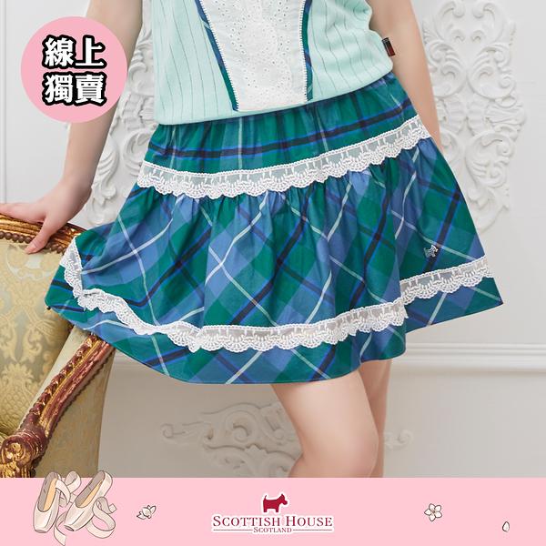 【Scottish House】 斜格蕾絲圓短裙 (AM2120)