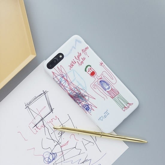 iPhone手機殼 可掛繩 兒童隨意手繪塗鴉 矽膠軟殼 蘋果iPhone8 X/iPhone7/i6 手機殼