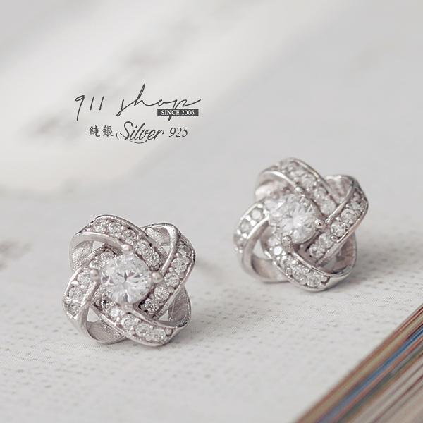 Brisk.925純銀花球纏繞滿鑽穿針式耳環【s155】*911 SHOP*