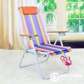 加長午休椅塑料沙灘椅折疊尼龍防水加固躺椅懶人午休折疊椅陪護椅