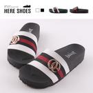[Here Shoes]涼拖鞋-MIT台灣製 皮質拼接布面鞋面 厚底前1.5 後3.5cm 一字拖鞋-AD735