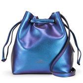 COACH 馬車LOGO素面金屬光感輕盈皮革抽繩束口斜背水桶包(藍紫色)195335-3