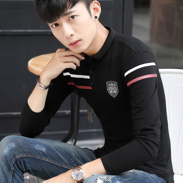 韓版男裝翻領polo衫 打底上衣長袖T恤【非凡上品】cx279
