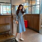 牛仔洋裝 春秋季女裝韓版顯瘦長款藍色牛仔裙洋裝女新款長袖流行裙子  poly girl