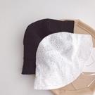 黑白兩色 森林氣質簍空透氣棉紗盆帽 小圓帽 遮陽帽 防曬帽 帽子 兒童 童帽 現貨 女童 橘魔法