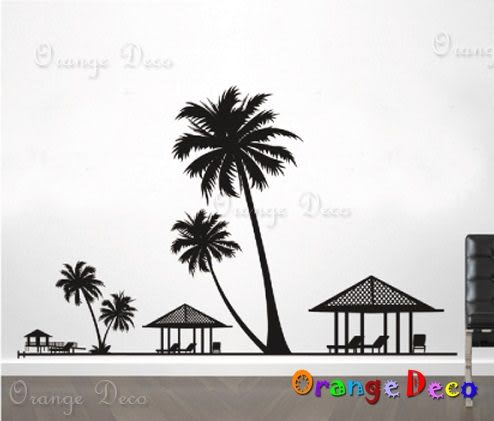 壁貼【橘果設計】夏威夷 DIY組合壁貼/牆貼/壁紙/客廳臥室浴室幼稚園室內設計裝潢