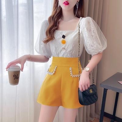 短袖套裝~7530#夏季郝本風法式設計小眾泡泡袖蕾絲衫釘珠闊腿短褲套裝H311-E胖妞衣櫥