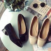 跟鞋  單鞋女韓版復古方頭潮淺口低跟粗跟職業工作鞋  ciyo黛雅