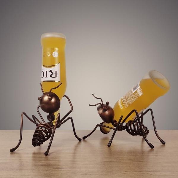 酒吧創意酒櫃裝飾品螞蟻酒架葡萄紅酒架置物架家用杯架工業風擺件 韓美e站