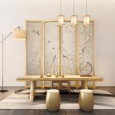 屏风 半透明折屏 隔斷客廳實木折疊移動玄關現代辦公室裝飾 新中式