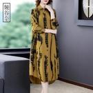 襯衫洋裝 大尺碼長袖襯衫洋裝秋裝2021年新款女休閒寬鬆遮肚子減齡裙子