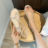 仙女風淑女氣質涼鞋女夏季新款水鑚羅馬鞋百搭皮帶扣涼鞋女 【全館免運】
