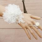 韓版復古宮廷白色蕾絲腕飾 新娘伴娘手鍊連戒指配飾品女【快速出貨八折搶購】