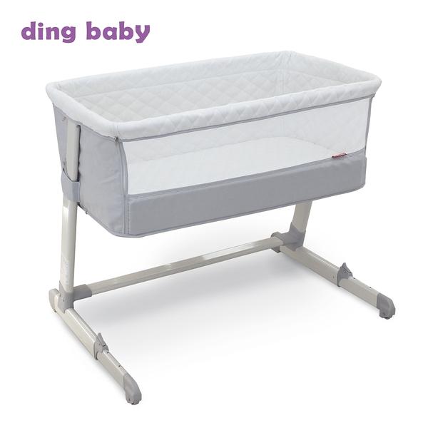 【彌月禮推薦】ding baby摩登親子床邊床-淺灰色(含床墊+蚊帳) I-P-9