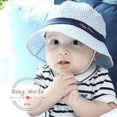 帽子 春秋 寶寶 純棉 條紋 遮陽 漁夫帽 BW
