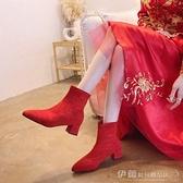 2021秋冬季新款粗跟馬丁靴高跟婚靴短靴大紅色結婚鞋新娘鞋女靴子 伊蘿