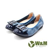 W&M(女)圓頭漆皮蝴蝶鑽娃娃鞋 女鞋-深藍(另有粉藕)