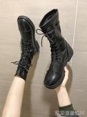 靴子女秋冬季新款平底英倫風高筒騎士短靴長靴黑色馬丁靴帥氣 凱斯盾
