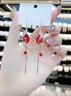 新年耳飾 气质网红爆款凤凰流苏耳环高级大气长款红色珍珠耳饰新娘耳坠【快速出貨八折鉅惠】