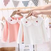 女童長袖 女童長袖t恤2021新款兒童秋裝上衣韓版翻領小童女寶寶洋氣打底衫 歐歐