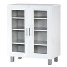 【藝匠】兩玻璃門鏡面PU鞋櫃 收納櫃 鞋櫃 家具 置物櫃 櫃子 收藏 組合櫃 (白)