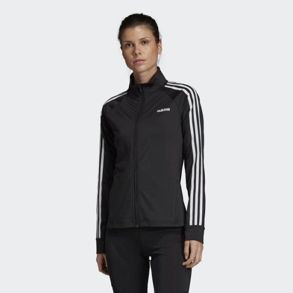 【一月大促折後$2080】L- adidas 3-STRIPES 女裝 外套 立領 慢跑 訓練 休閒 吸汗快乾 口袋拉鍊 黑白 EI5529