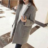 秋冬新款韓版女裝毛呢外套修身顯瘦大碼中長款呢子大衣 韓慕精品