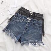 歐美風夏季新款V型高腰牛仔短褲女顯瘦提臀修腿型毛邊熱褲A字