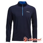 【wildland 荒野】男 彈性針織輕薄拉鍊領長袖上衣『深藍』0A71626 T恤 上衣 長袖 排汗 休閒 戶外 登山