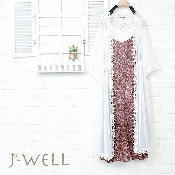 J-WELL 涼感薄透襯衫洋裝背心三件組(組合844 8J1207白F+8J1450紅F+8W1139白M/L)