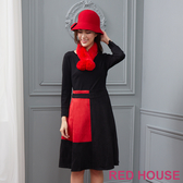 【RED HOUSE 蕾赫斯】拼色剪裁洋裝(共兩色)