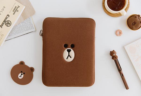 IPad10.2吋9.7吋平板保護殼 IPAD Air3平板保護套可愛 蘋果IPad Pro10.5吋11吋布朗熊內膽包保護套