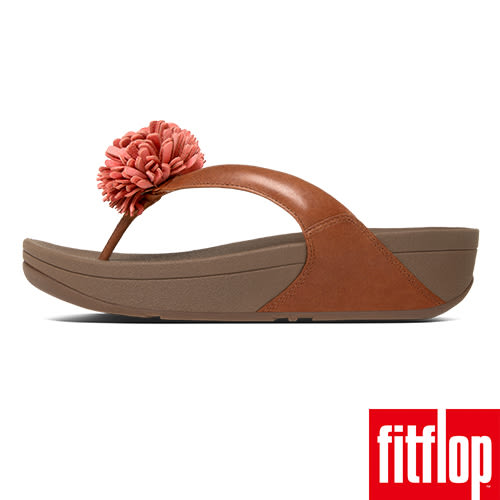 FitFlop TM-FLOWERBALL LEATHER TOE-POST-深褐色