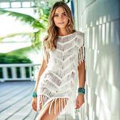 K.J時尚(WUNa07)批發歐美新款針織須條沙灘罩衫比基尼外搭泳衣外套
