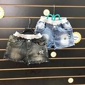 ☆棒棒糖童裝☆(247054)夏女大童鬆緊腰磨破星星款牛仔短褲 120-165