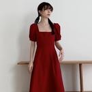 方領洋裝 紅色連身裙女夏季2021年新款法式復古赫本風收腰顯瘦方領氣質長裙 晶彩