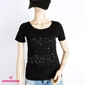【SHOWCASE】俏麗雪點燙鑽圓領棉質T恤(黑色)