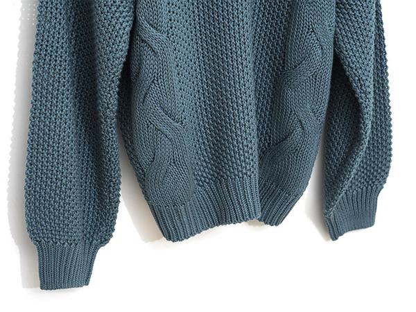 秋冬7折[H2O]V領麻花組織休閒風針織毛衣 - 綠/黑/粉色 #9650007