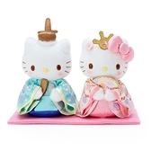 小禮堂 Hello Kitty x Daniel 女兒節絨毛玩偶組 雛祭娃娃 和服娃娃 透明盒裝 (2入 粉綠) 4550337-37384