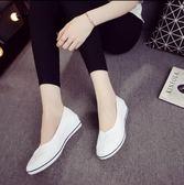 護士鞋白色坡跟2018新款美容鞋小白鞋女春秋老北京布鞋女鞋