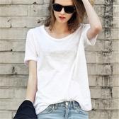 純棉T恤 簡約短袖女T恤白色竹節棉體恤打底衫寬鬆大圓領半袖純棉-Ballet朵朵