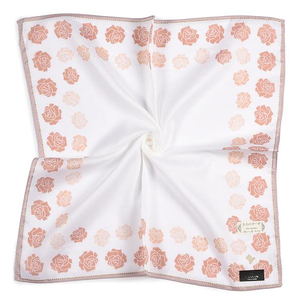LANVIN浪凡玫瑰印花純綿帕領巾(粉白色)989034-11