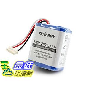 [104美國直購] 380t電池 Tenergy 7.2V 2000mAh Replacement Battery for iRobot Braava 380t & Mint 5200 tf01