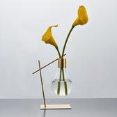 桌面擺件ins北歐水養綠蘿創意鐵藝玻璃水培花瓶擺件裝飾品桌面房間小擺設 玩趣3C
