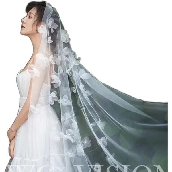 日韓式新娘2米頭紗頭飾白色燒邊絹紗絹花婚紗拍照結婚婚禮配飾品