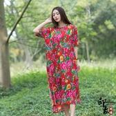 大尺碼洋裝大尺碼女民族風寬鬆印花短袖中長連身裙