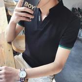 POLO衫夏季男士短袖t恤修身潮流正韓V領體恤個性上衣青年衣服男裝polo衫【快速出貨】