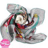【奢華時尚】秒殺推薦!LV 威爾遜塗鴉印花85公分絲質披肩(八五成新)#22688