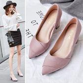 韓版百搭尖頭淺口中跟黑色工作鞋女高跟粗跟單鞋女鞋 格蘭小舖