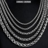 《 QBOX 》FASHION 飾品【N10BN1006】精緻個性花蘭繩環扣鈦鋼項鍊子/鋼鍊條(0.6/0.8cm)
